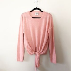 Anthro Charli Pink Cashmere Tie Front Sweater